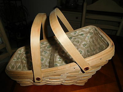 Longaberger Vegetable Basket in Natural Wood with Liner and Protector 2000