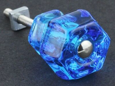 Vintage Style Depression Glass Cabinet Knobs Pull Victorian Peacock Blue Set 2