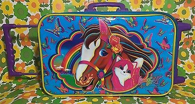 "Vintage Rare ""Lisa Frank"" 90s Rolling suitcase, luggage bag"