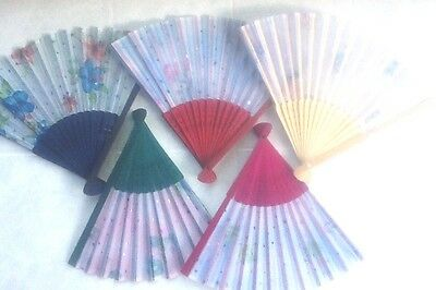 Small 21cm Printed Hand held folding hand fan - Bamboo - Various colours
