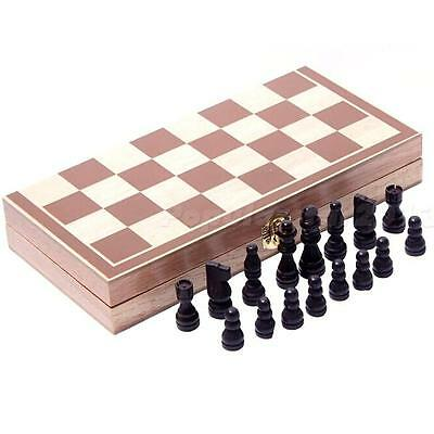 Wooden Pieces Chess Set Vintage Folding Board Box Wood Hand Carved Kids Toy