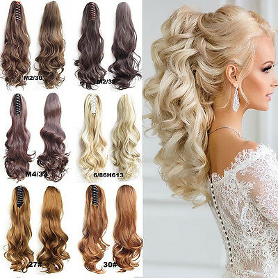 Thick Clip In Pony Tail Hair Extensions Claw Clip On Ponytail As Human Piece PG