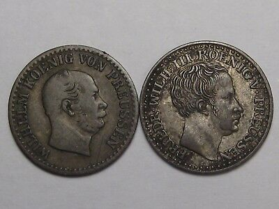 2 Prussia German States Groschon Silver Coins: 1840-D & 1865-A.  #21