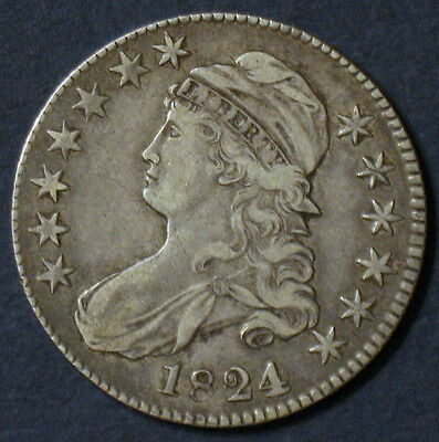 "1824 Capped Bust Half Dollar, O-103 R1, Key ""4 Over Various"" Overdate Variety!"