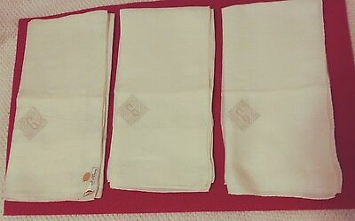 Lot of 3 Vintage Linen Handkerchiefs with Initial G - Hand Made Madeira Portugal