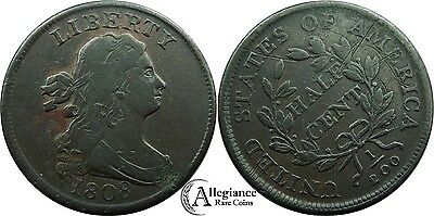 1808 1/2c Draped Bust Half Cent VF detail rare old type coin lovely color 1/2 c.