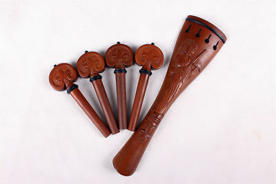 new 1set cello parts jujubo peg tailpiece hand carving cello accessories #719