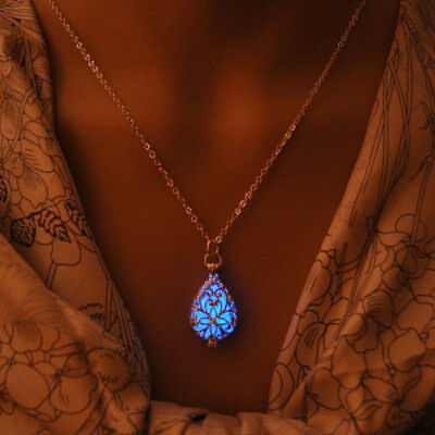Glow In Dark Locket Silver Hollow Glowing Stone Luminous Choker Pendant Necklace