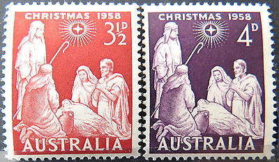 1958 Australian Pre Decimal Stamps: Christmas - Set of 2 MNH