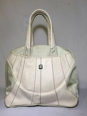 Crumpler Russian King Large Ivory Beige Leather Canvas Tote Shoulder Laptop bag