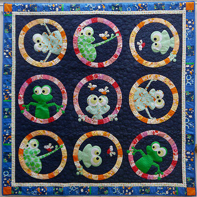 Frog Face - fun applique & pieced quilt PATTERN - Claire Turpin