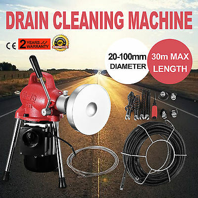 """3/4""""-4""""Dia Sectional Pipe Drain Cleaner Machine Flexible Snake Sewer Electric"""
