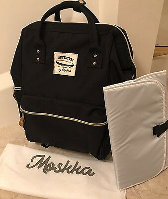 Adventure By Moskka Baby Diaper Bag Travel Backpack Black Luggage Changing Pad