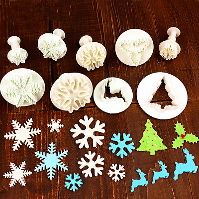 Christmas Plunger Cookies Cutter Biscuit Cake Decorating Sugarcraft Mould Tools