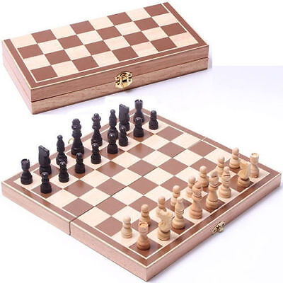 Vintage Wooden Pieces Chess Set Folding Board Box Wood Hand Carved Kids