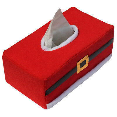 1X Red Creative Christmas Rectangle Tissue Box Cover Paper Holder Home Decor
