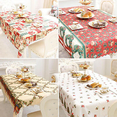 Merry Christmas Rectangular Printed Fabric Tablecloth Stain & Wrinkle Resistant