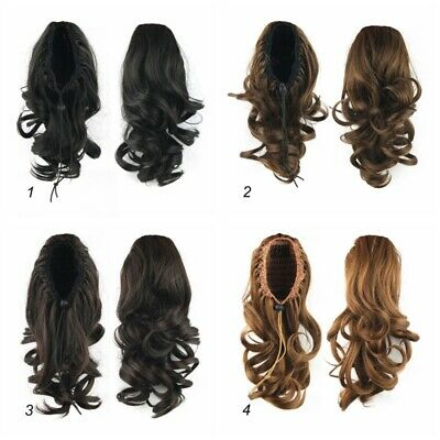 AU Woman Girl Wavy Curly Ponytail Hair Extensions Ladies Clip In Hairpiece Wig