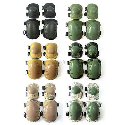 AU 4PCS Adult Tactical Military Skating Cycling Elbow Knee Pad Protective Guard