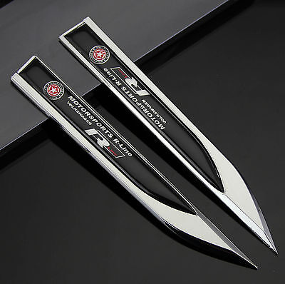 2pcs Auto Car Metal Knife Badge Emblem Decal Sticker For Black R R-line Racing