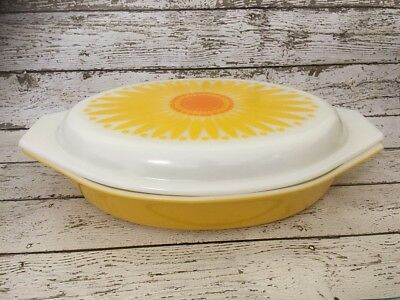 VINTAGE Pyrex Dish - Sunflower - Oval Divided