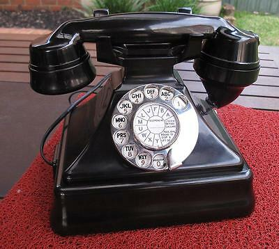 Vintage P.M.G. Black Bakelite 232 Pyramid Table Telephone c.1930's