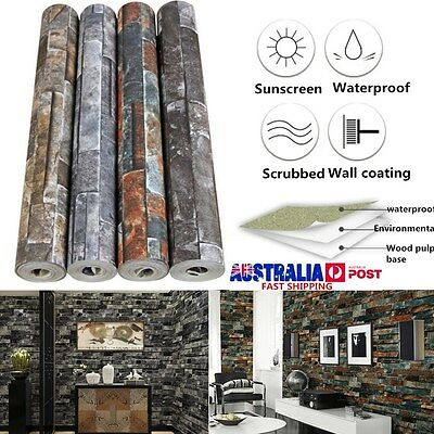 10m PVC 3D Brick Stone Pattern Textured Mural Art Roll Wallpaper Home Room Decor