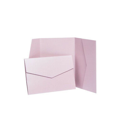 Antique Pink Pearlescent Pocketfold Invites with envelopes. Wedding invitations
