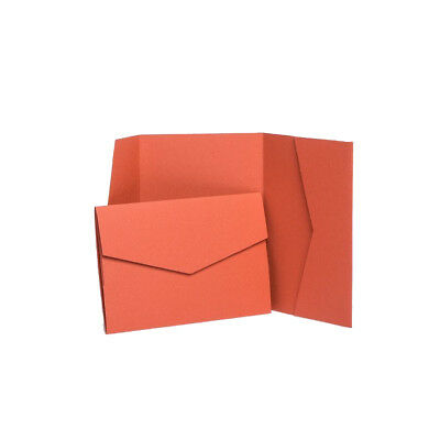Terracotta Matte Pocketfold Invites with envelopes. Wedding card invitations
