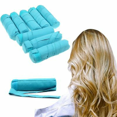 "Styler in Sleep Kit Long NIP 8 Teal Rollers Curlers 6"" Long Shark Tank Curlers"