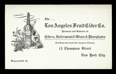 Vintage LOS ANGELES FRUIT CIDER CO. Advertising Card 1890s NEW YORK CITY Wines