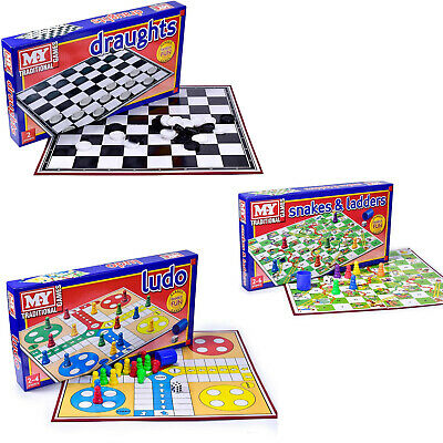 Classic Family Kids Ludo Snakes & Ladders Draughts Traditional Board Fun Games