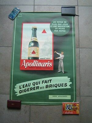 Affiche Originale  APOLLINARIS  1950  illustrée par Decock