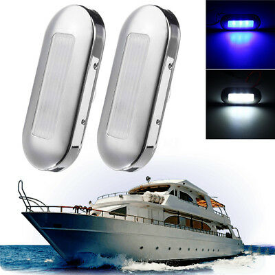 2X Marine Boat 3 LED Oblong Oval Surface Mount Courtesy Accent Light F67 316 Lid