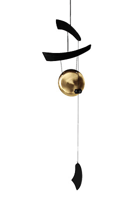 Zen Black Wooden Chime with Metal Gong and a Hook