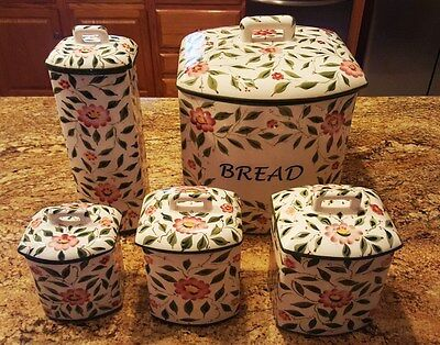 Casafina Canister Set - Hand Painted - Made in Portugal - 5 Piece Set