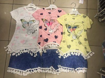 Girl's Butterfly and Heart Top with Shorts Hot pants with tassles 4 6 8 10