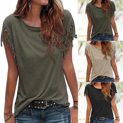 Fashion Women Ladies Loose Top Tassel Short Sleeve Blouse Casual Tops T-Shirt AU