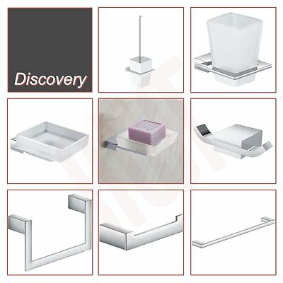 """NEW! Quality Chrome """"Discovery"""" Bathroom Wall Accessories (7 Pieces)"""