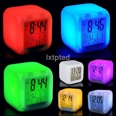 Multifunction 7 Colour LED Glowing LCD Cube Digital Alarm Clock Kid Children au~
