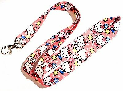 HELLO KITTY CLASSIC LANYARD pink flowers key ring neck strap ID tag badge new 4V