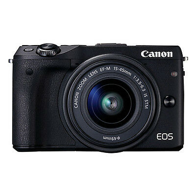Canon EOS M3 Mirrorless Digital Camera with 15-45mm EF-M IS STM Lens Black