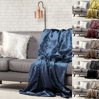 Crushed Velvet Soft Throw Over Sofa Protector Bed Spread Furniture Cover 1 Sided
