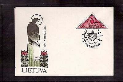 Lithuania 1991 Souvenir Cover #394, Resistance To Soviet & German Occupation !!