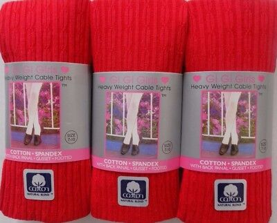 Girls Cotton Warm Uniform Cable Footed Tights Size 4-6 to 14-16 BUY 2 GET 1 FREE