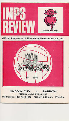 Lincoln City v Barrow programme 12/4/1972 Division 4