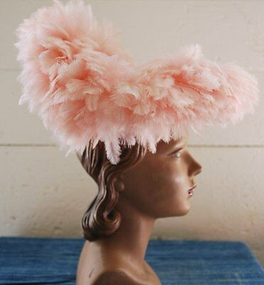 1940 Frothy Feathered Fancy Fabulousness Hat In Confectionery Pink And Velvet