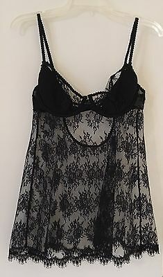 Victoria's Secret Very Sexy 2-PC Nightie Nightgown Babydoll Black Lace 36C M