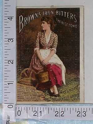 Antique bottle BROWNS IRON BITTERS trade card