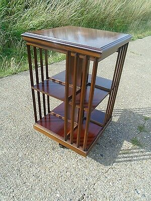 Lovely Antique Style Inlaid Mahogany Revolving Bookcase In Great Condition.